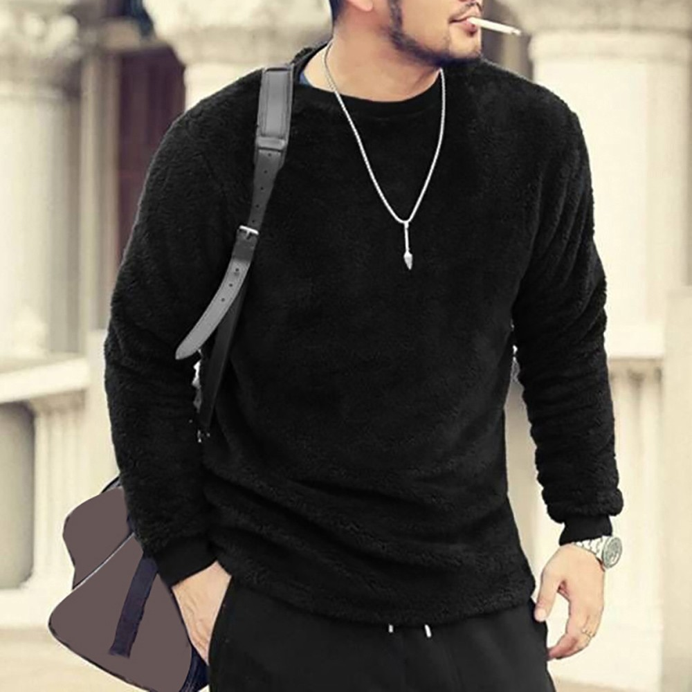 Men 39 s T Shirt Long Sleeve Autumn And Winter Men Autumn Winter Casual O neck Loose Double sided Plush Tops Blouses T shirt in T Shirts from Men 39 s Clothing