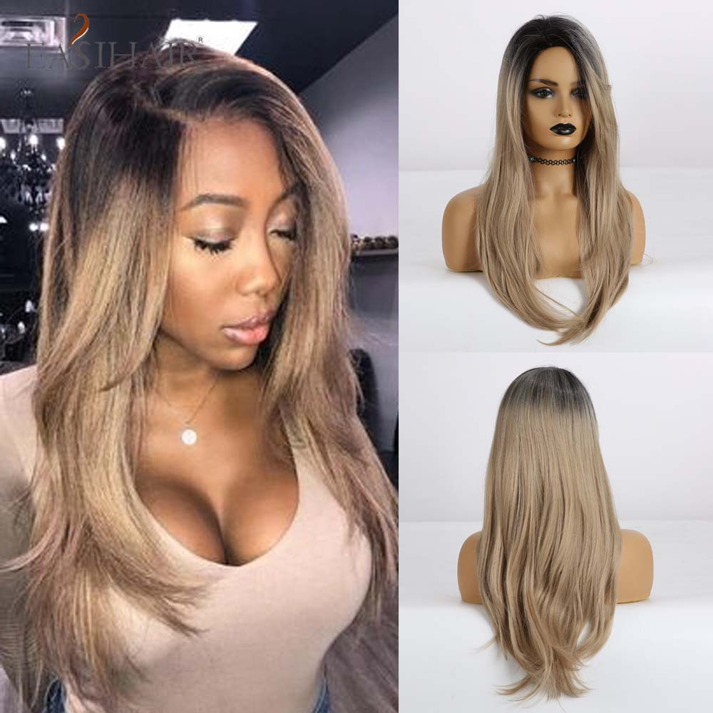 EASIHAIR Long Straight Black To Brown Ombre Hair Heat Resistant Synthetic Wigs With Side Bangs Wigs For Women Cosplay Wigs