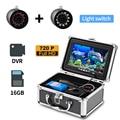 Lámpara doble Erchang 24 LEDS 7 ''15m buscador de peces cámara de pesca submarina + Monitor HD 1280*720 con grabación de vídeo tarjeta SD 16G
