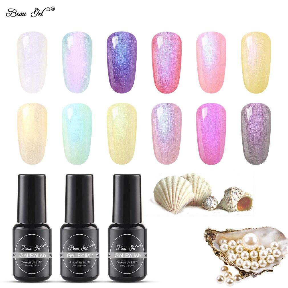 Beau Gel 8ml Pearl Shell Mermaid Color UV LED Gel Nail Polish Colorful  Shell Nails Art Gel Polish Lacquer Permanent Enamel