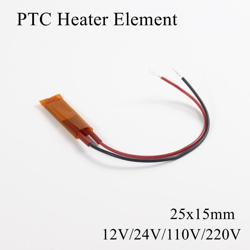 1pc 25x15mm 12V 24V 110V 220V PTC Heater Ceramic Heater Plate Thermistor Air Heating Element Induction Mini Seat Outdoor Film