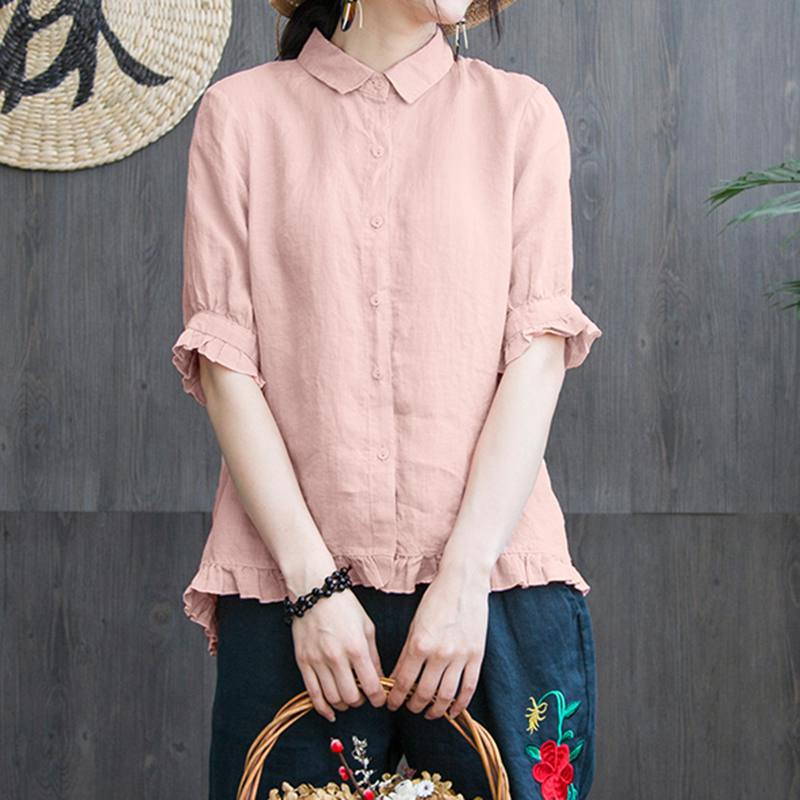 Zanzea blusa com babado, camisas femininas de