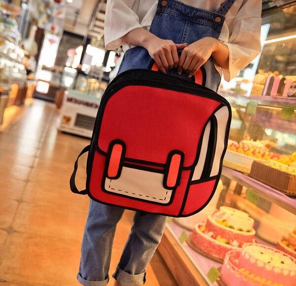 Frauen Rucksack 3D Jump Stil 2D Zeichnung Cartoon Zurück Tasche Comic Messenger Mode Nette Student Taschen Knapsack