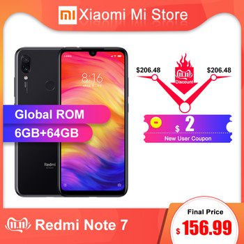 "In Stock Global ROM Xiaomi Redmi Note 7 6GB RAM 64GB ROM Smartphone Snapdragon 660 6.3"" Screen 48MP Rear Camera 4000mAh Battery"