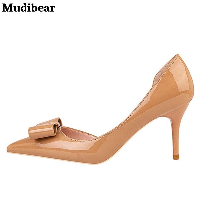 Купить туфли лодочки mudibear женские на высоком тонком каблуке кожа