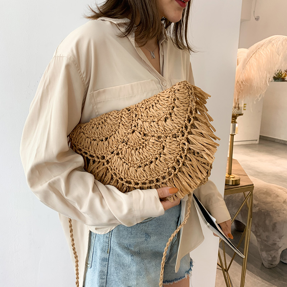 Maison Fabre Handbag Women's Bag Woven Rattan Bag Summer Beach Straw Casual Wild Vacation Simple Weave Crossbody Bag Dropship