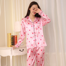 Silk pajamas women Turndown long-sleeved trousers 2 piece pajama set women Heart-shaped print satin home service-Gift eye mask