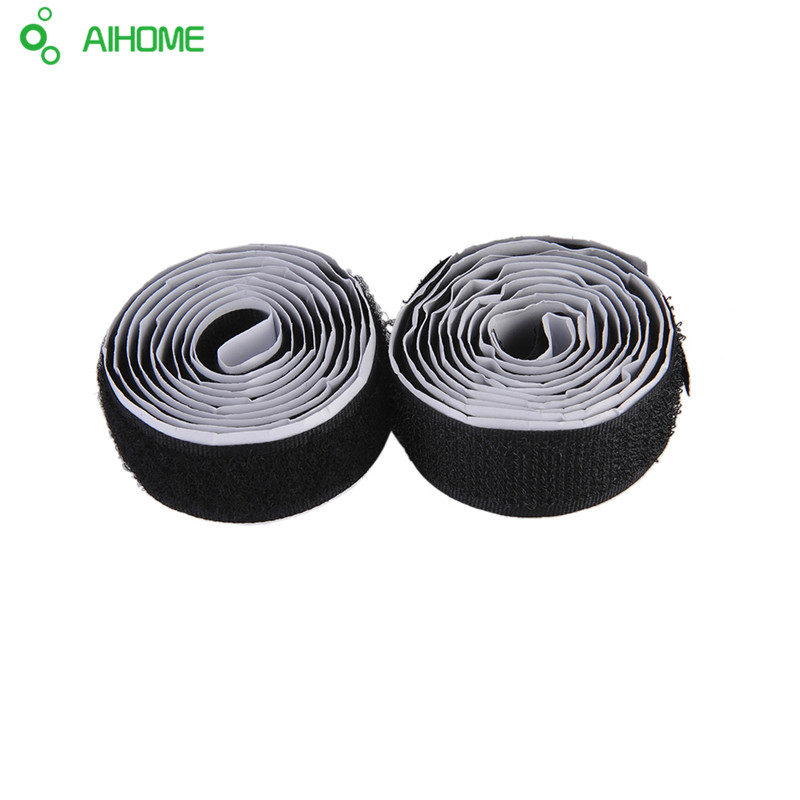 2 Rolls Strong Self Adhesive Hook Loop Tape Fastener Sticky 1M 3ft Black/White