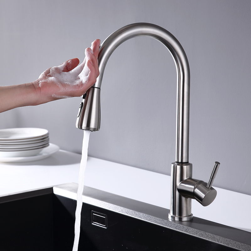 Smart Touch Pulldown Kitchen Faucet Patented Control Device High Sensitive New Design Tap  Without Insulation Base M080TT