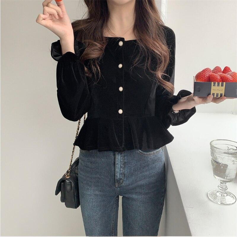 New Spring Vintage Velvet Shirt Female Oversize Tops Women Long Sleeve Girls Blouse Plus Size Autumn Women Blouses Femme Blusas