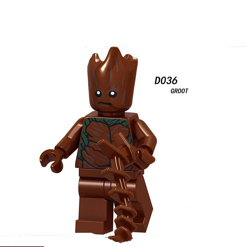 Single Sale LegoINGlys Super Heroes Iron Sprider Man Ebony Maw  Groot  Thor Black Widow Star-lord Action Toy Children Gifts D036