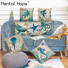 Ocean Style Square Cushion Cover Sea Turtle Pattern Linen Cotton Throw Pillow Cover For Couch/Car Home Decor Pillowcase 45x45cm ocean style oblique striped anchor pattern square shape flax pillowcase without pillow inner