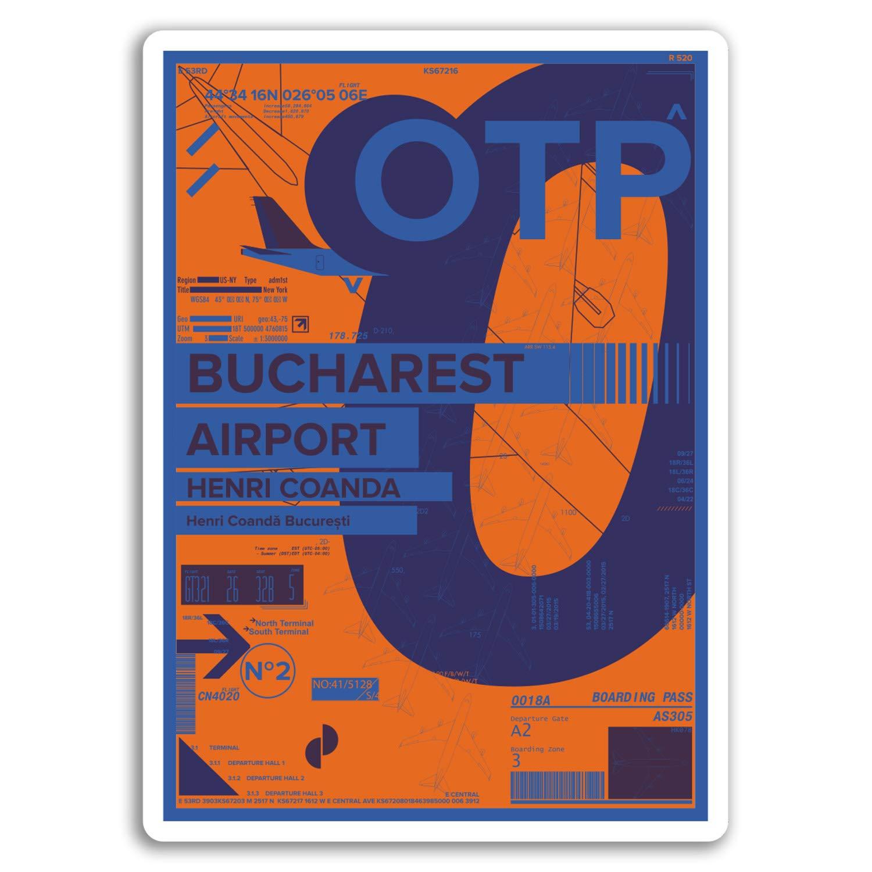 Romania Travel Sticker #17441 2 x 10cm OTP Bucharest Airport Vinyl Stickers
