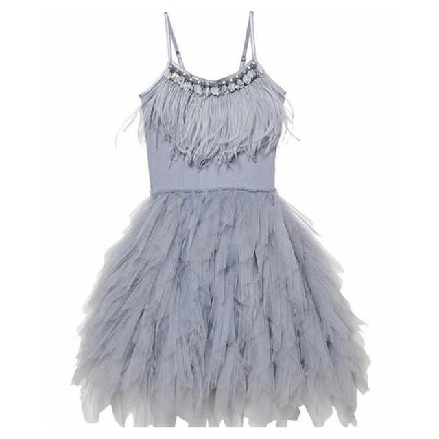 אופנה נוצת גדילים בנות שמלת 2 10 yrs ילדה מסיבת חתונה שמלות ילדים נסיכת שמלת יום הולדת תלבושות בגדי ילדים