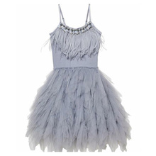 Fashion Feather Tassels Girls Dress 2 10 yrs Girl Wedding Party Dresses Kids Princess Dress Birthday Costume Childrens Clothing