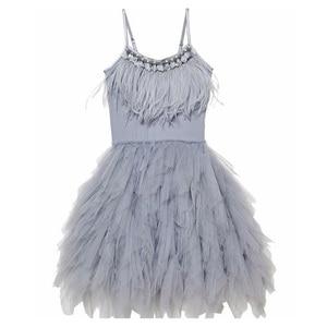 Image 1 - Fashion Feather Tassels Girls Dress 2 10 yrs Girl Wedding Party Dresses Kids Princess Dress Birthday Costume Childrens Clothing