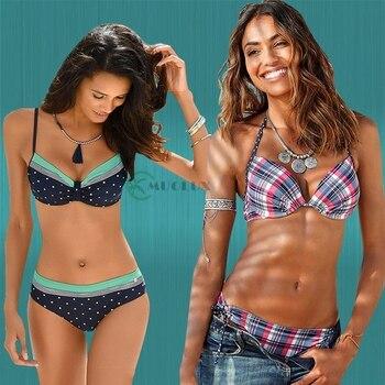 MUOLUX 2020 Sexy Bikini Set Two Piece Swimwear Women Swimsuit Tankini Swimsuit Lattic Bandage Push Up Beach wear Bathing Suits 3