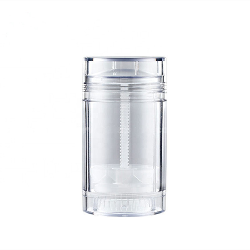 Free Shipping 2pcs/lot Bottom Fill 75ml 2.5oz  Clear Round Deodorant Stick Packaging  Screw Deodorant Tube Bottle