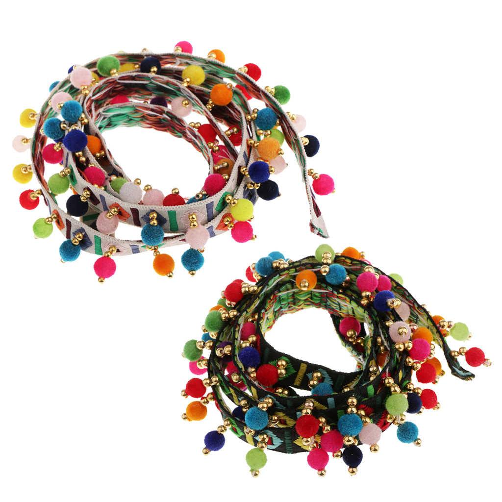 2 pezzi di Stile Etnico Arcobaleno Bobble Pom Pom Sfera Nappe E Frange Trim Nastro Per Cucire Appliques