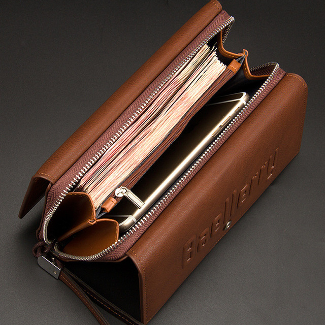Baellerry Wallet Male Clutch Wallets Large Phone Bag Unique Design Men Purse Turnover Handbag Multifunction Card Holder Wallet 4