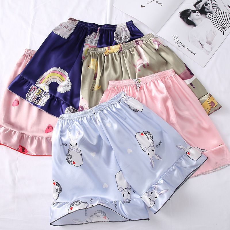 Women Summer Thin Section Elastic Waist Loose Casual Cute Cartoon Print Anti-light Silk Pajama Comfortable Sleep Shorts M-XL.w
