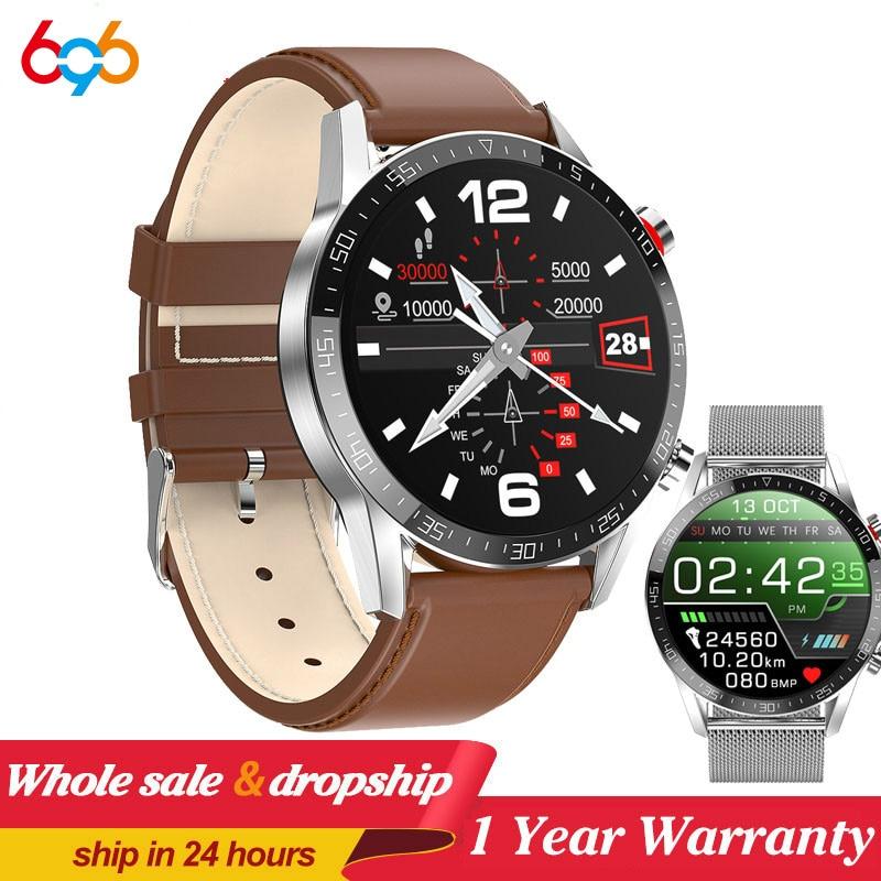 New L13 SmartWatch Men ECG PPG Waterproof Bluetooth Call Blood Pressure Fashion Wristbands Bracelet Fitness Smart Watch PK L8 L7