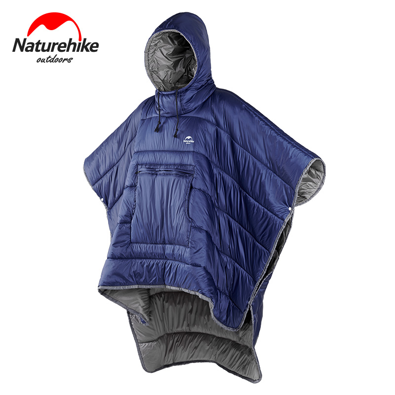 Naturehike NH18D010-P Cotton Wearable Sleeping Bag Poncho Quilt Jacket Coat Hooded Blanket For Camping Hiking