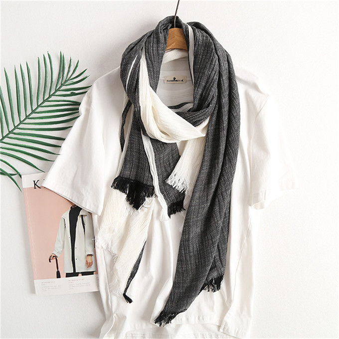 Winter Scarf  For Men Warm Soft Tassel Plaid Woven Wrinkled Cotton Linen Striped