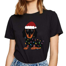 Tops T Shirt Women christmas dachshund cute dog santa hat O-Neck Vintage Print Female Tshirt(China)