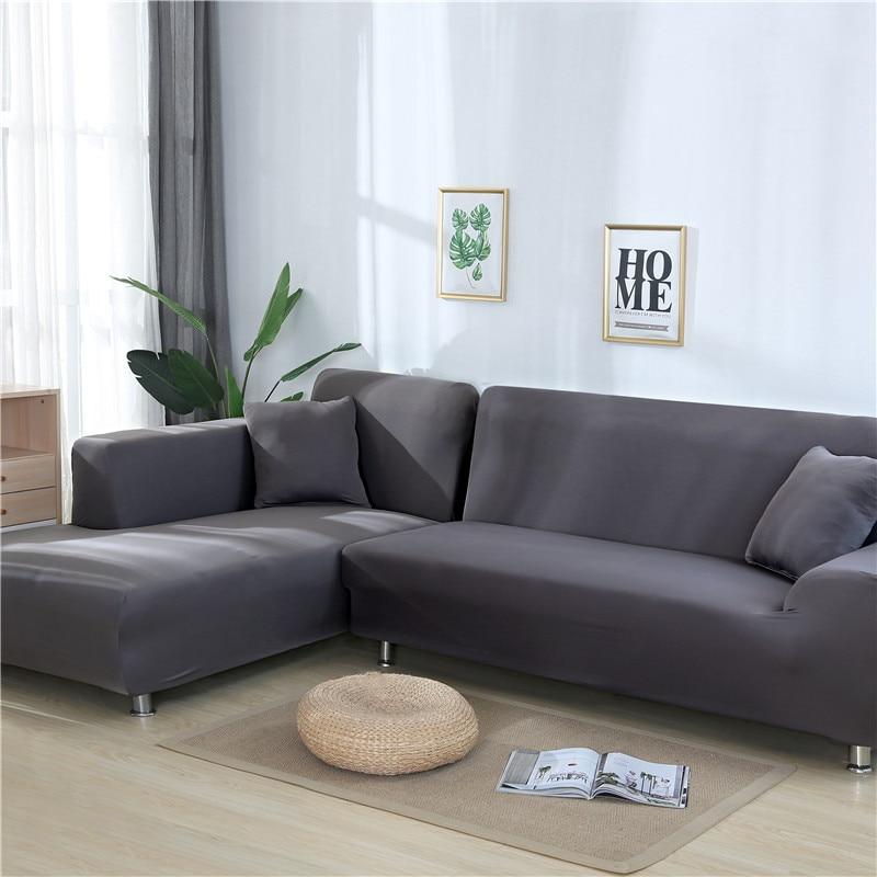 Funda cubresofá de Color sólido para sala de estar, funda elástica para sofá, toalla en forma de L, 2 uds.