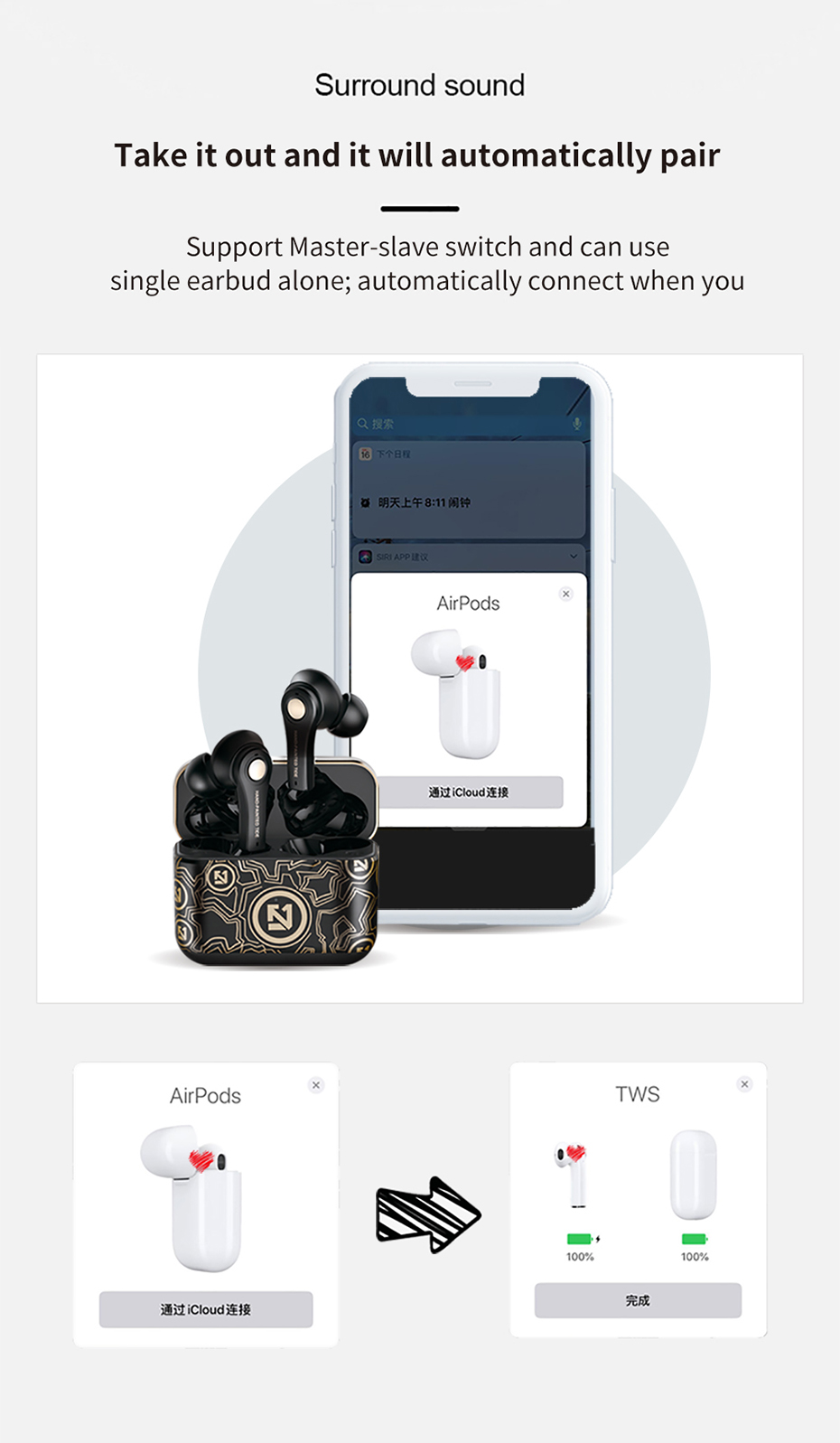 BONOLA TWS Wireless Bluetooth Headset 5.0 Sport Waterproof Earbud Earphone with Microphone for iPhone 1212Mini Xiaomi Samsung (11)