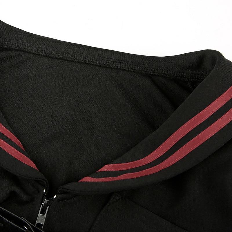 Focal20 Streetwear Sailor Collar Stripe Women Crop Jacket Casual Zipper Female Crop Coat Spring Autumn Lady Crop Jackets Tops 10