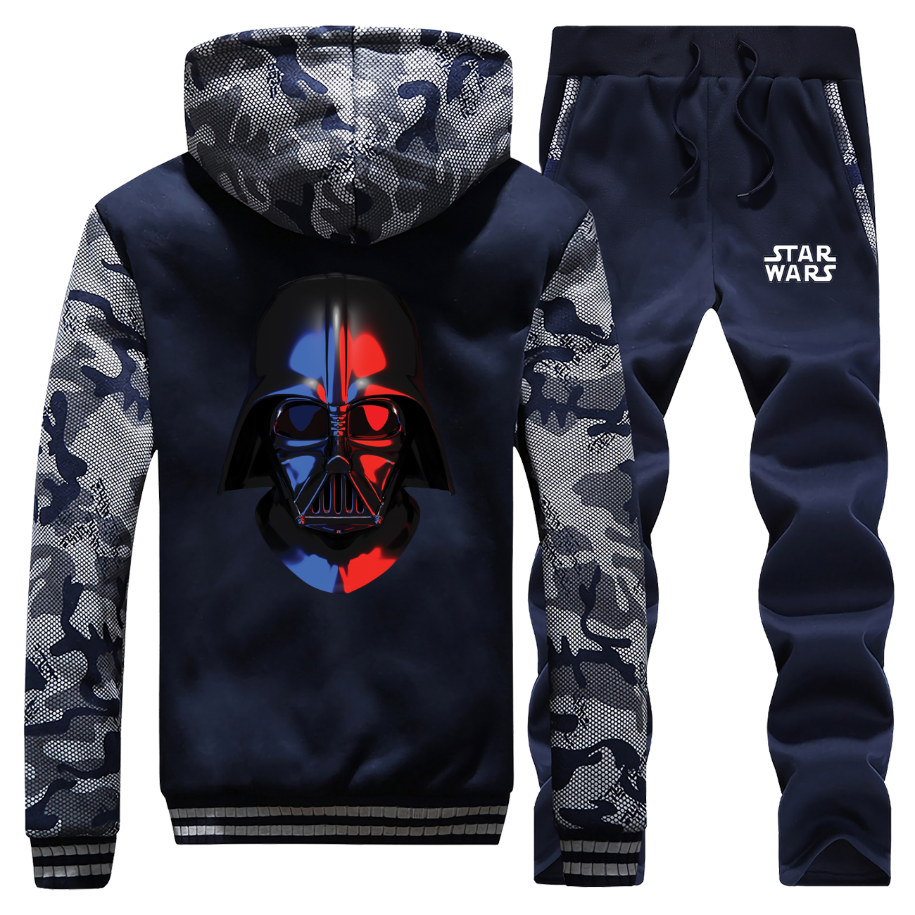 Darth Vader Star Wars New Winter 2019 Men Hoodie Camouflage Coat Thick Suit Sportswear Hip Hop Warm Jackets+Pants 2 Piece Set