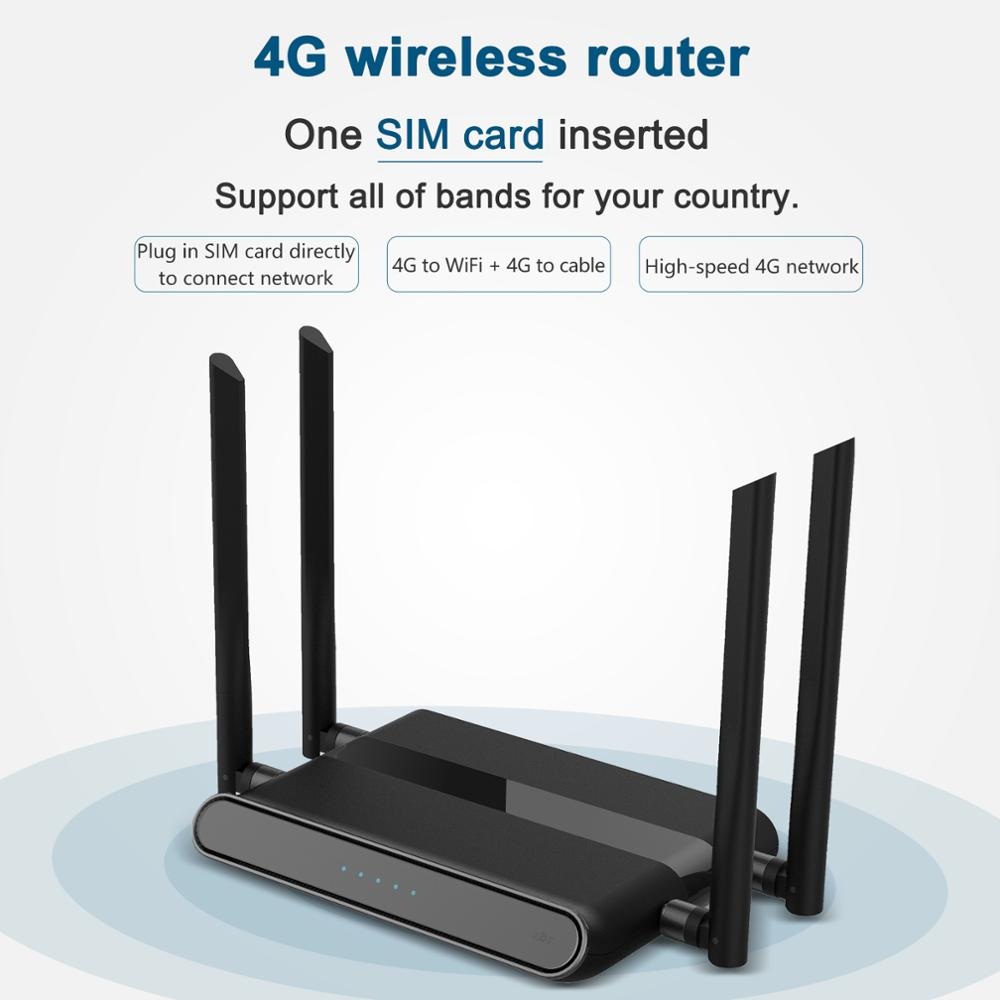 4G Wi-Fi Router Africa 4Port Router With SIM Card USB WAP2 802.11n/b/g 300Mbps 2.4G Router LAN WAN 10/100M PCI-E Router Wireless