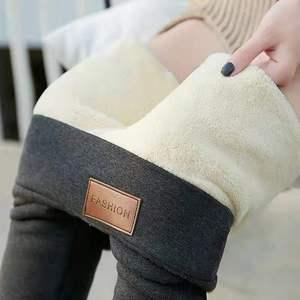 Women Winter Thick Velvet Wool Pants High Waist Hit Underpant Stretch Slim Trouser Cashmere Pencil Pant Soild Color Leggings