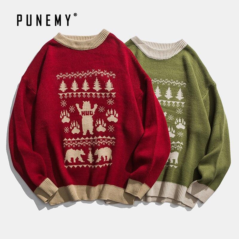Men Sweaters Retro Christmas Theme Pattern Acrylic Oversize Hip Hop Streetwear Harajuku Autumn New Casual Men's Pullover Sweater