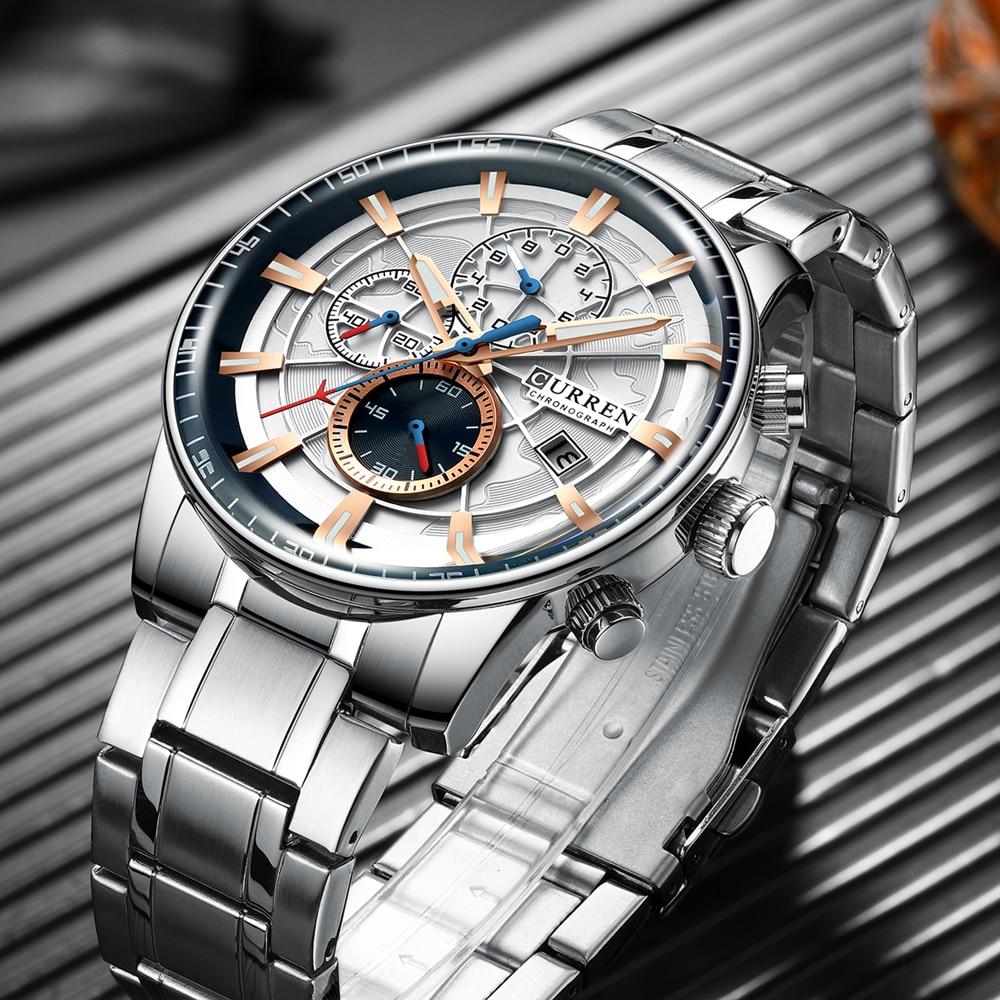 Image 5 - Mens Watches CURREN New Fashion Stainless Steel Top Brand Luxury Multi function Chronograph Quartz Wristwatch Relogio MasculinoQuartz Watches   -