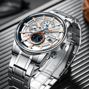 Image 5 - Mens Watches CURREN New Fashion Stainless Steel Top Brand Luxury Multi function Chronograph Quartz Wristwatch Relogio Masculino