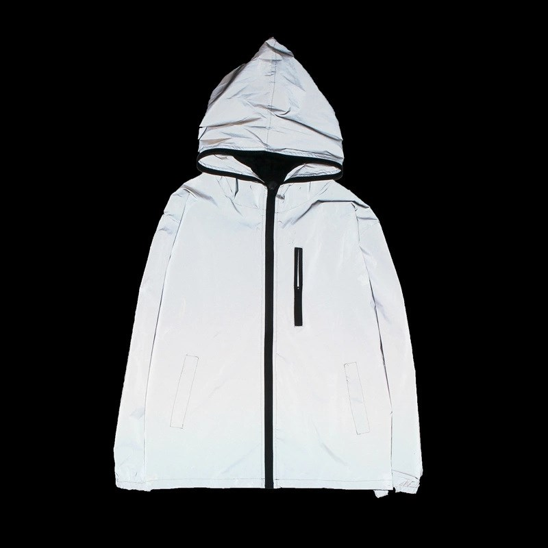 Women Casual Reflective   Jacket   Cool   Basic     Jacket   Coat Windbreaker Turn-Down Collar Zipper Hooded Loose   Jacket   Outwear