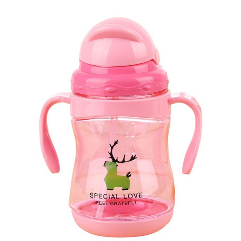200-400ml Training Bottle Kids Toddler Baby Healthy Feeding Cup Safe Drinking Water Straw Sippy Lovely Baby Water Milk Cup
