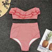 Simplee Ruffle Striped high waist women bathing suit Push up padded swimwear bikini set Two pieces summer beach wear ladies sets