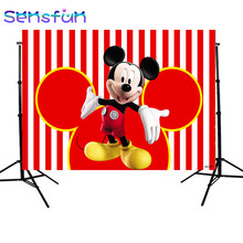 Xq0259 Photography background Cartoon Mickey Mouse Custom Children Birthday Party Photo Studio Backdrops Banner Photo booth Prop(China)