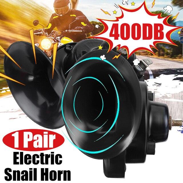 1 زوج العالمي الصاخبة 400DB 12V الكهربائية الحلزون القرن الهواء القرن مستعرة الصوت ل دراجة نارية سيارة شاحنة قارب سيارة
