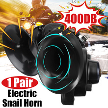 1 Pair Universal Loud 400DB 12V Electric Snail Horn Air Horn Raging Sound For Car Motorcycle Truck Boat Car