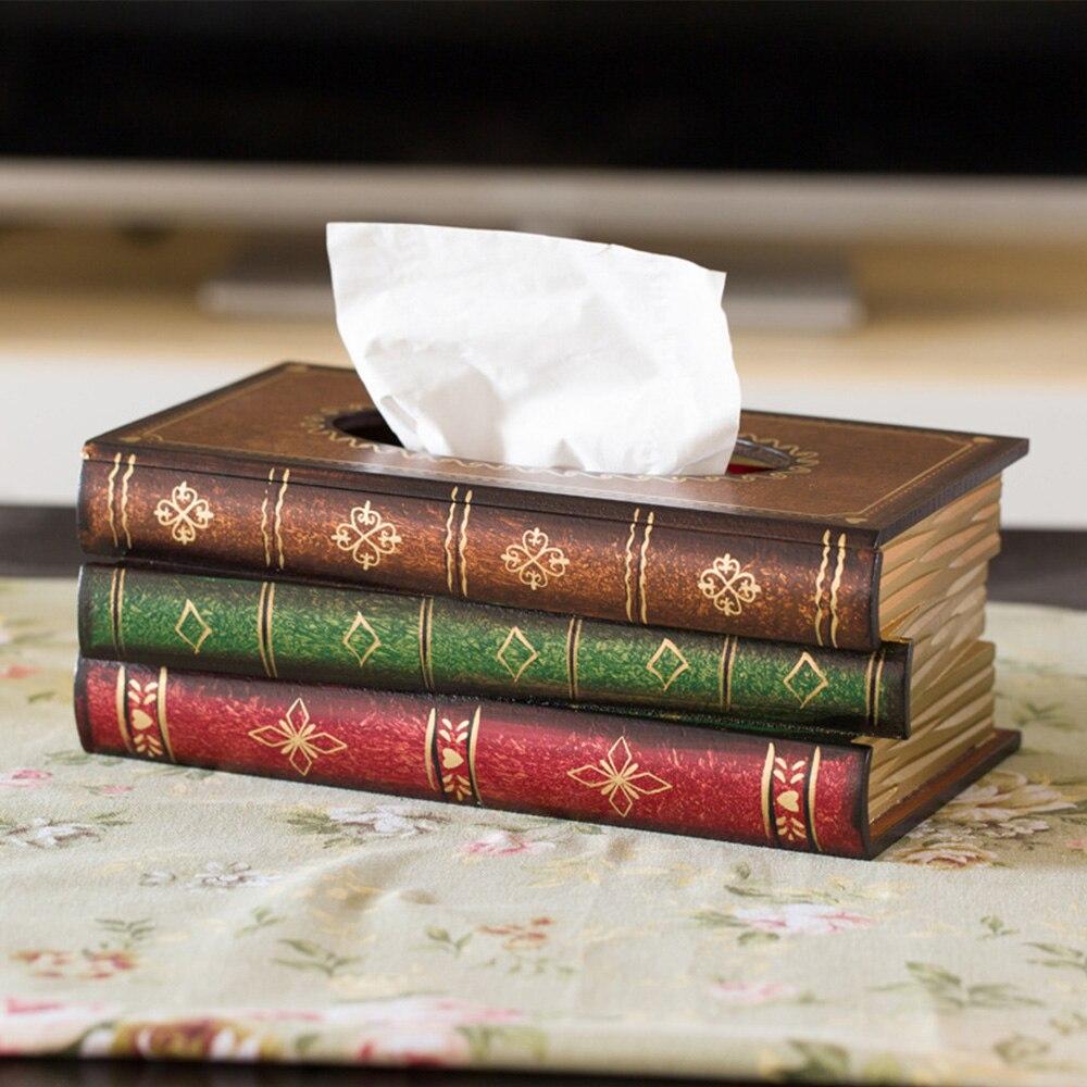 Nouveau rétro en bois livre forme boîte à mouchoirs porte-papier boîtier de rangement Europe Retangle serviette porte-papier anneau boîte de rangement de tissu