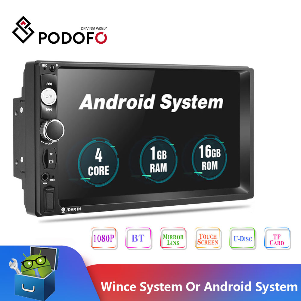 2020 Newest Podofo Android 2 Din Car Radio Multimedia Player 2GB+ROM 32GB 7''GPS MAP No Dvd 2din Autoradio For Ford Volkswagen