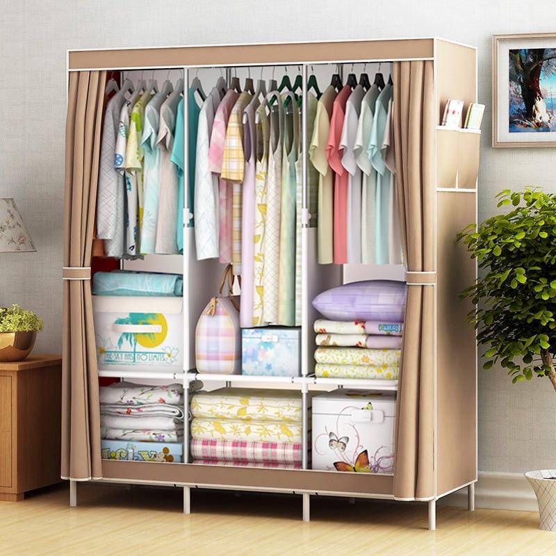 DIY Non-woven Folding Portable Wardrobe Bedroom Furniture Bedroom Storage Cabinet Simple Modern Dustproof Wardrobe