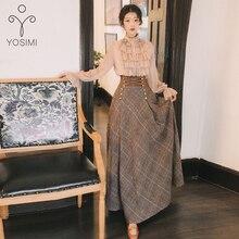 YOSIMI осень зима длинный рукав блузка Топ и шерстяная клетчатая юбка и топ набор костюм женский комплект из двух частей свитер юбка
