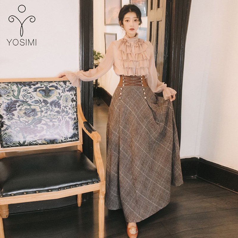 YOSIMI 2019 Autumn Winter Long Sleeve Blouse Top And Woolen Plaid Skirt And Top Set Suit Women Two Piece Outfits Sweater Skirt