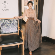 YOSIMI 2019 Autumn Winter Long Sleeve Blouse Top and Woolen Plaid Skirt and